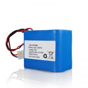 6.4V 12Ah LiFePO4 dobíjací lítiový akumulátor 26650 32650 s konektorom pre solárne svetlo